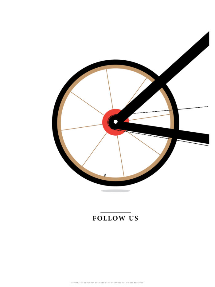bike minimalism minimal poster print folllow us