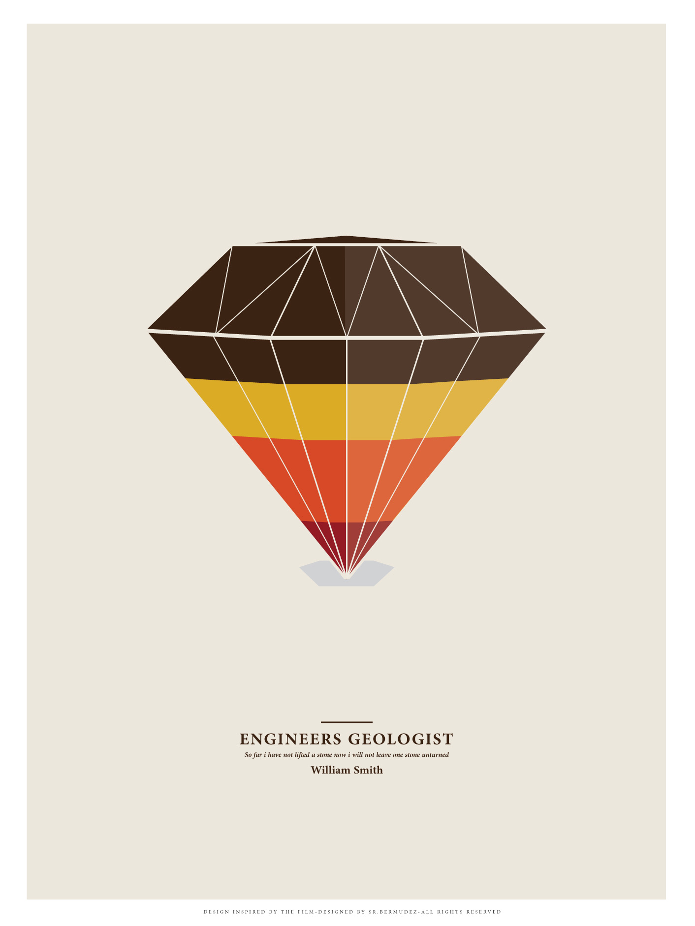 geologist minimal print diamond earth deco