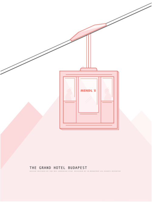 minimalism minimal poster print the grand hotel budapest wes anderson film